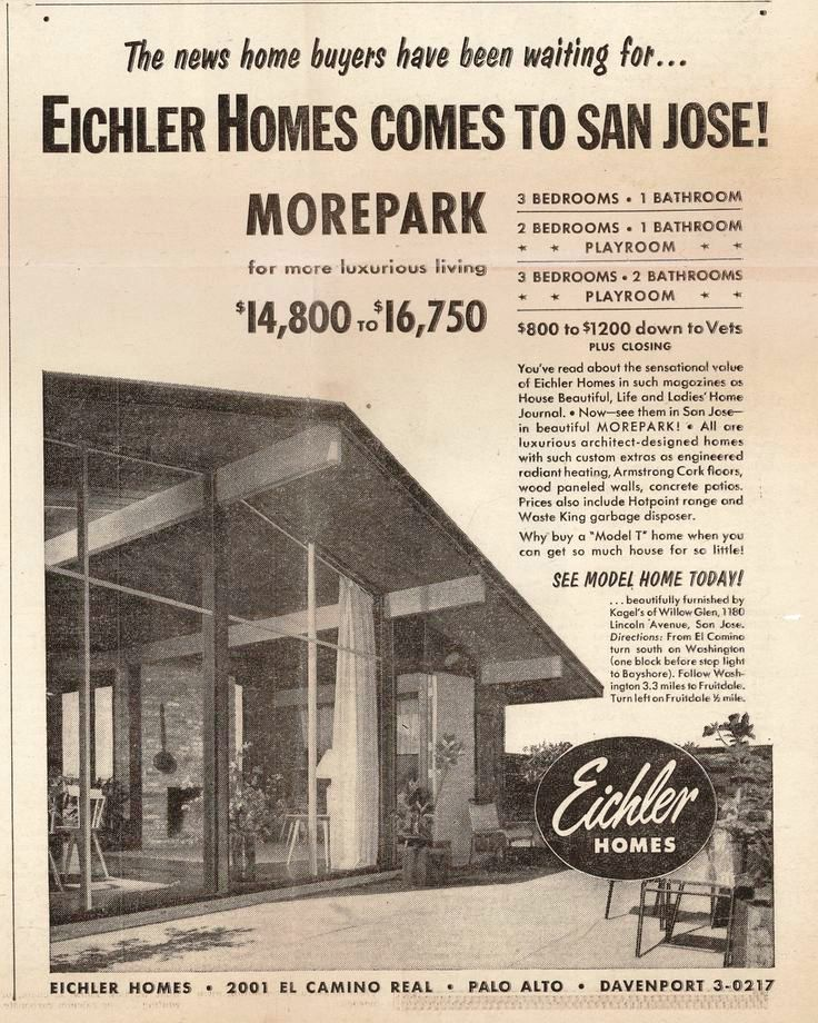 Morepark ad for Eichlers, Courtesy EichlerNetwork